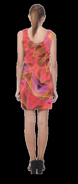 Abstract Peach Violet Mandala Ribbon Candy Lace Short Sleeveless Dress