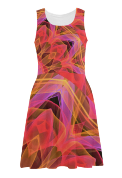 Abstract Peach Violet Mandala Ribbon Candy Lace Sundress