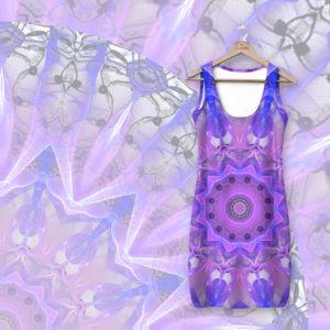 Abstract Plum Ice Crystal Palace Lattice Lace Mandala   Simple Dress