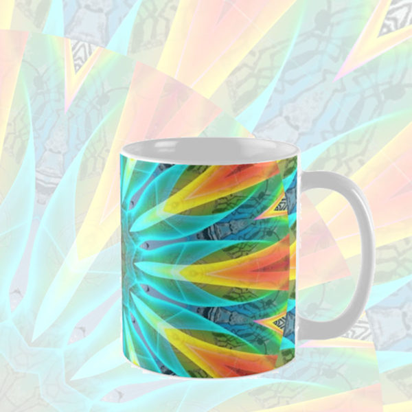 Aqua Gold Joy to the World Abstract Flowers Mandala   Mug