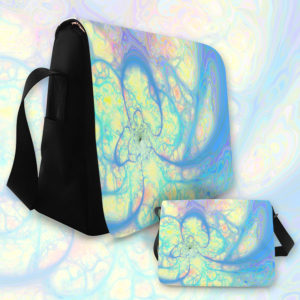 Blue Angel, Abstract Cosmic Azure Lemon | Messenger Bag