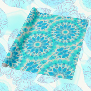 Blue Ice Goddess, Abstract Crystals of Love Mandala | Wrapping Paper