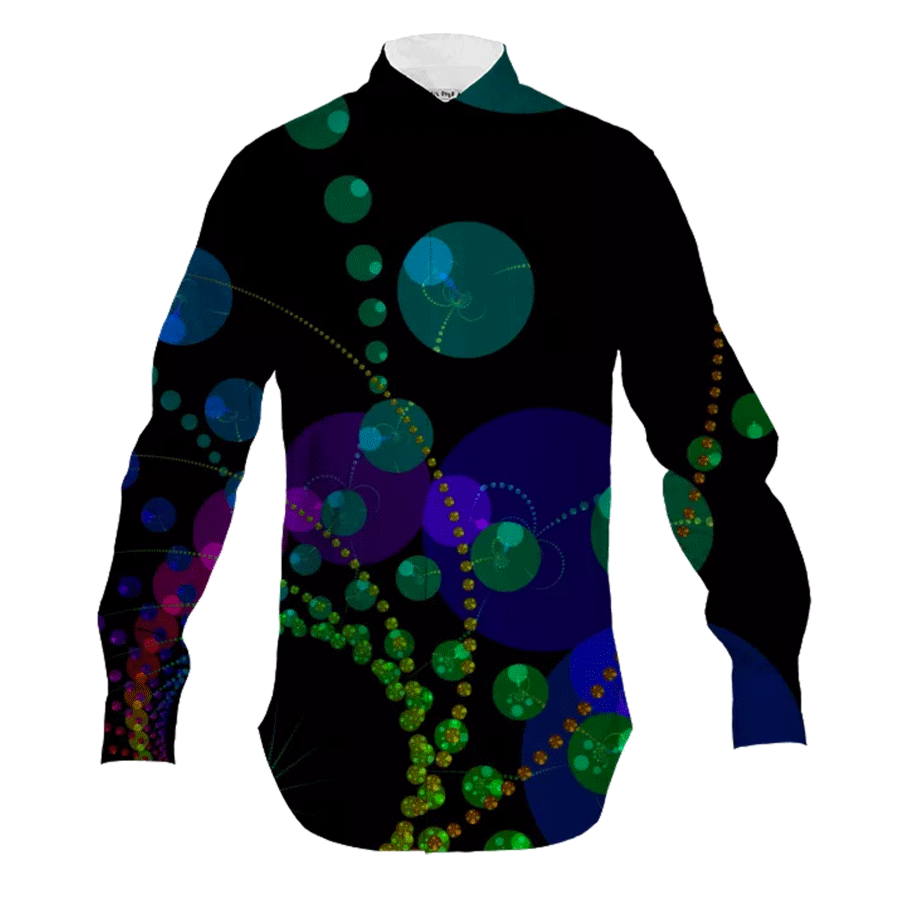 Dance of the Spheres II, Cosmic Abstract Rainbow | Men's Button Down Shirt | DianeClancy @PAOM title=Dance of the Spheres II, Cosmic Abstract Rainbow | Men's Shirt