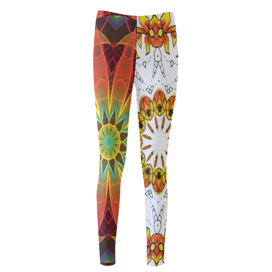 Sold! ❤ Dancing Orange Yellow Flowers Ladybugs Mandala Leggings