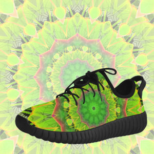 Golden Green Foliage Ferns Abstract Summer Days Grus Women's Breatheable Woven Running Shoes (Model 022)