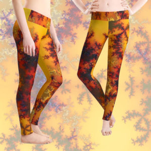 Golden Sun Gate, Abstract Fractal Asian Illusion | Leggings