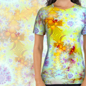 Golden Violet Sea Shells, Abstract Fractal Ocean All Over Print Shirt