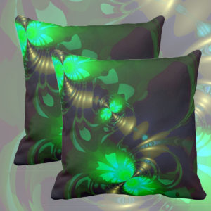 Irish Goblin, Emerald, Bronze and Gold Ribbons | Throw Pillows