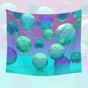 Ocean Dreams, Aqua and Indigo Seascape Universe | Wall Hanging