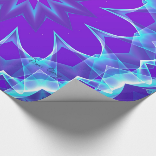 Psychedelic Stars, Abstract Violet Purple Glow | Wrapping Paper | Corner