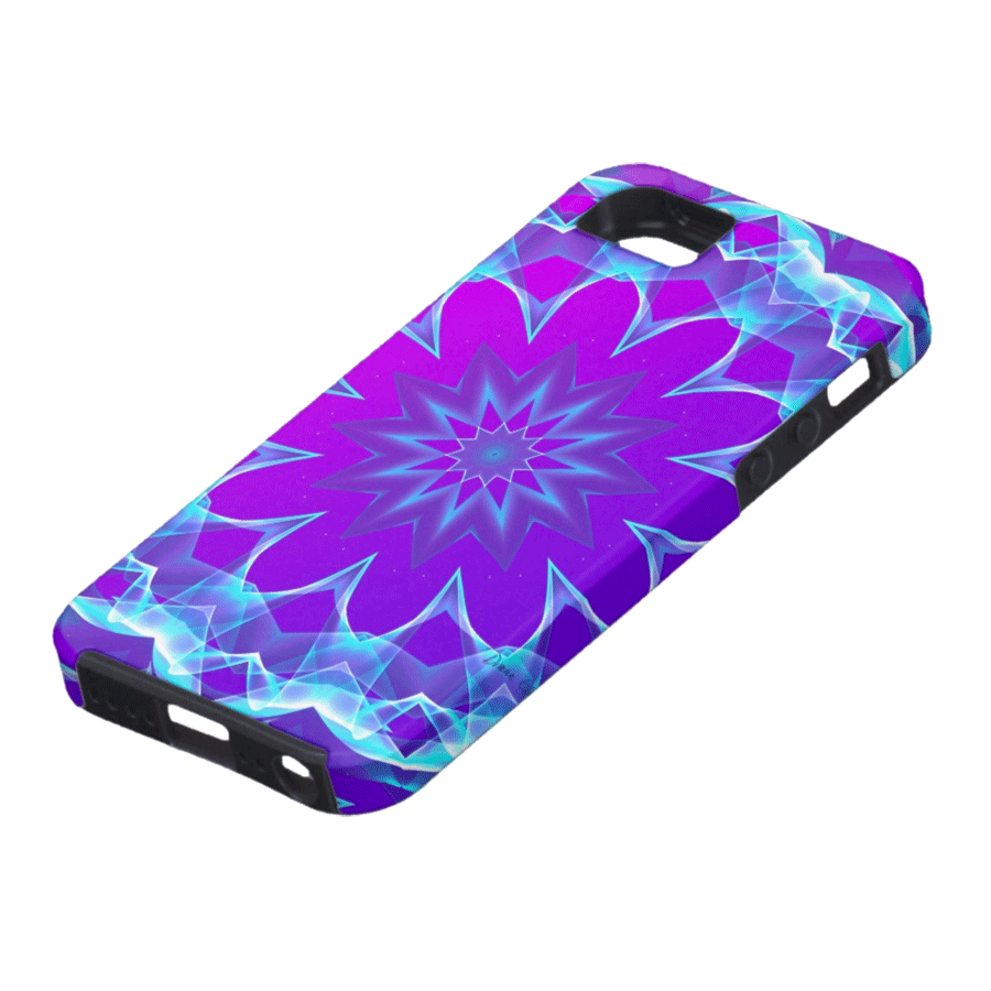 Psychedelic Stars, Abstract Violet Purple Glow Mandala | iPhone SE/5/5s Case | DianeClancyMandalas @Zazzle