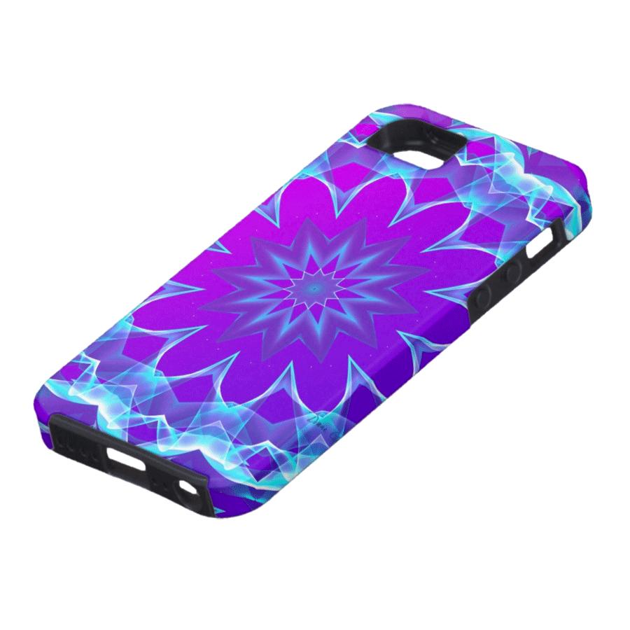 Abstract Violet Purple Glow Mandala, Psychedelic Stars | iPhone SE/5/5s Case | DianeClancyMandalas @Zazzle title=Psychedelic Stars, Abstract Violet Purple Glow Mandala | iPhone SE/5/5s Case