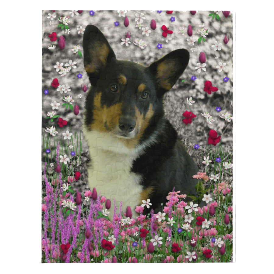 "Sebastian Pembroke Corgi in Flowers 8"" x 10"" Jigsaw Puzzle 