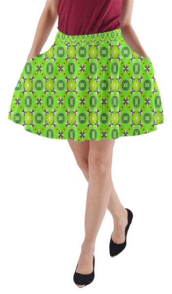 Vibrant Abstract Tropical Lime Foliage Lattice Pattern | A-Line Pocket Skirt