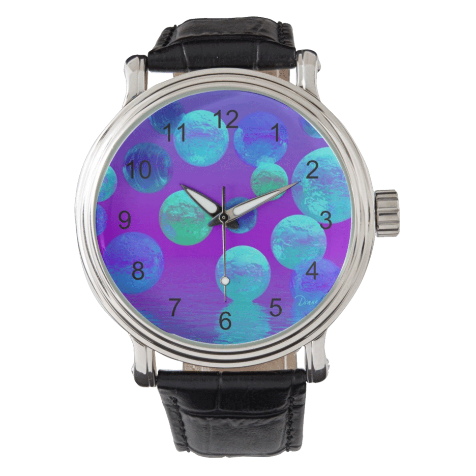 Sold! ❤ Violet Mist, Cyan Abstract Wristwatch