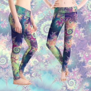 Violet Teal Sea Shells, Abstract Underwater Forest | Leggings