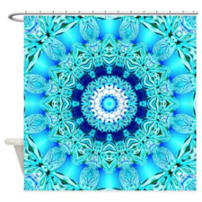 Sold! ❤ Blue Ice Lace Shower Curtain