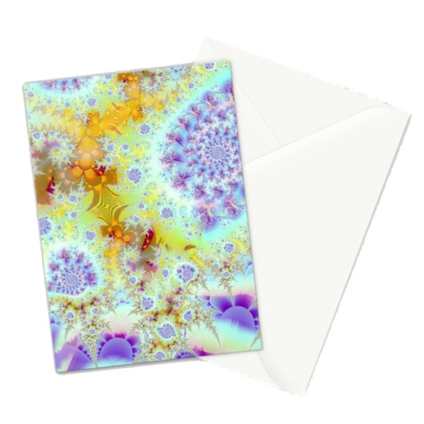 Golden Violet Sea Shells, Abstract Fractal Ocean | Greeting Card