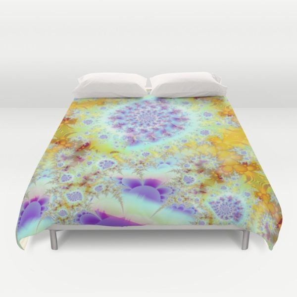 Golden Violet Sea Shells, Abstract Fractal Ocean | Duvet Cover