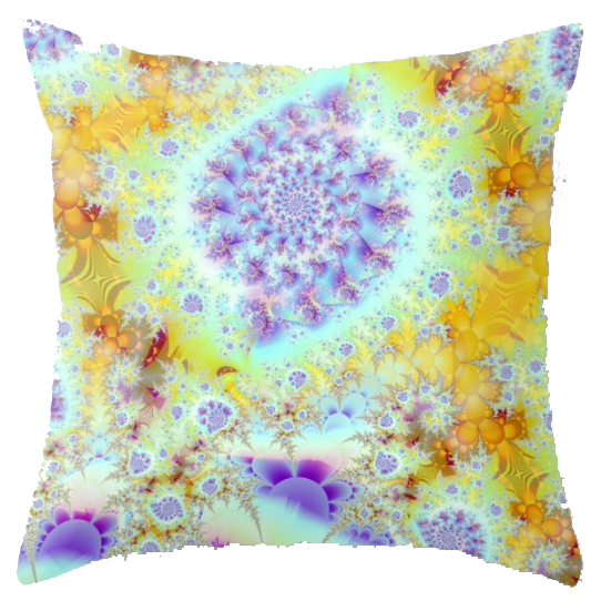 Golden Violet Sea Shells, Abstract Fractal Ocean | Throw Pillow