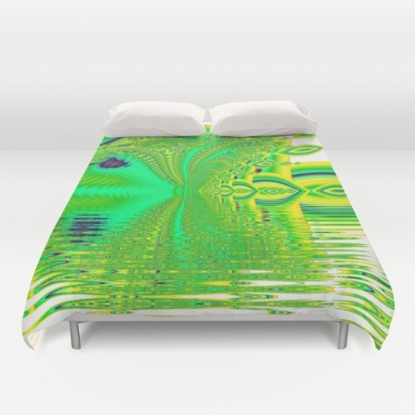 Lemon Lime Cool Summer Day, Fractal Dreams in Green | Duvet Cover