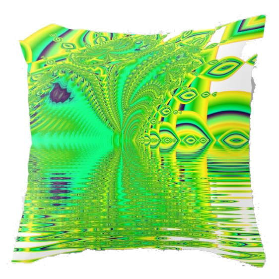 Lemon Lime Cool Summer Day, Fractal Dreams in Green | Throw Pillow