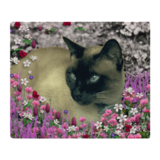 Sold! ❤ Stella Siamese Cat in Flowers Throw Blanket