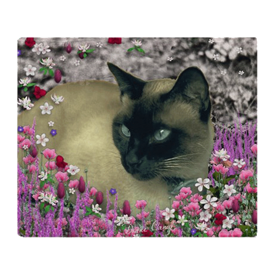 "Stella Siamese Cat in Flowers | 50""x60"" Throw Blanket 