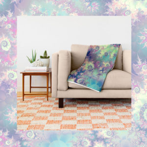 Violet Teal Sea Shells, Abstract Underwater Forest | Throw Blanket